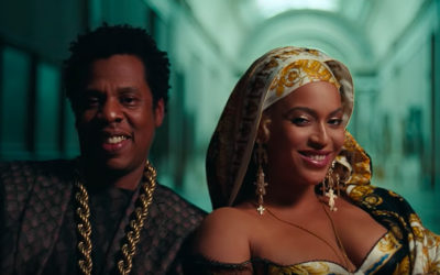 Jay-Z and Beyonce grinning toward the end of their video, 'Apeshit – The Carters', produced by Jerusalemite Natan Schottenfels (YouTube screenshot)