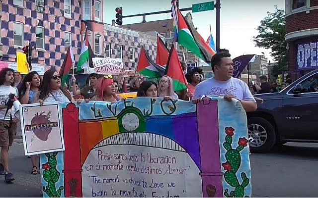Les participants à la Dyke March de Chicago, munis de drapeaux palestiniens, en 2018. (Crédit : capture d'écran Windy City Times)
