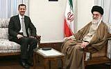 L'Ayatollah Ali Khamenei, le Guide suprême iranien, s'entretient avec le président syrien Bashar el-Assad à Téhéran, Iran, le 2 octobre 2010. (Capture d'écran YouTube)