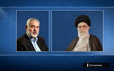 Le chef du Hamas Ismail Haniyeh et le guide suprême iranien Ali Khamenei. (Crédit : capture d'écran YouTube)