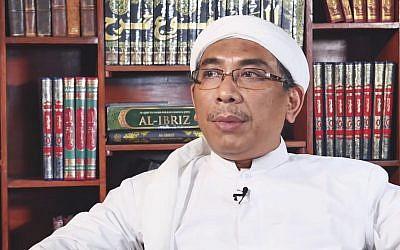 Yahya Cholil Staquf, Secrétaire général de la plus importante association musulmane en Indonésie, s'adresse au Conseil de l'Union européenne. (Capture d'écran YouTube)
