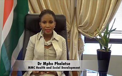 Mpho Phalatse, en charge de la Santé à la municipalité de Johannesburg. (Crédit : capture d'écran YouTube)