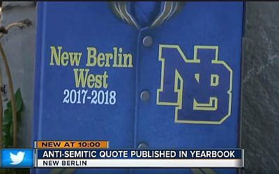 La couverture de l'album de promo 2017-2018 du lycée New Berlin West High School, à New Berlin, dans le Wisconsin, qui a été retiré en raison de la phrase antisémite d'un élève (Capture d'écran: YouTube via TMJ4)