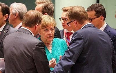 Angela Merkel à Bruxelles le 28 juin 2018. (Crédit : AFP/Ludovic Marin)