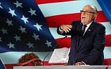 """L'ancien maire de New York Rudy Giuliani à un évènement """"Free Iran 2018 - the Alternative"""" le 30 juin 2018, à Villepinte, en banlieue parisienne. (Crédit : AFP /Zakaria Abdelkafi)"""