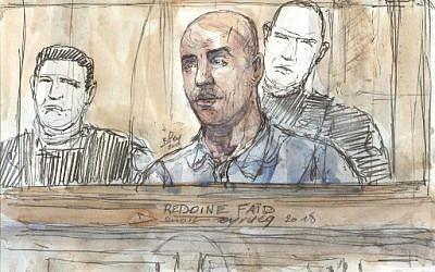 Croquis du 27 février 2018 de l'audience de Redoine Faid, aux Assises de Paris. Redoine FaId s'est évadé de prison le 1er juillet 2018. (Crédit : AFP PHOTO / Benoit PEYRUCQ)