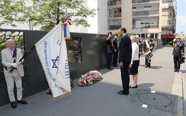 Le Premier ministre français Edouard Philippe (C-g) et Genevieve Darrieussecq (C-d), à la 76e commémoration de la rafle du Vel d'Hiv, le 22 juillet 2018. (Crédit : AFP / JACQUES DEMARTHON)