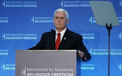 Le vice-président des États-Unis, Mike Pence, prend la parole à la réunion ministérielle sur l'avancement de la liberté de religion à Washington, le 26 juillet 2018. (Alex Wong/Getty Images/AFP)