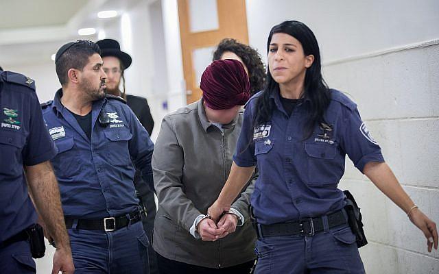 L'ancienne directrice d'école en Australie Malka Leifer, recherchée dans son pays pour agressions sexuelles contre des enfants, à la cour de district de Jérusalem, le 14 février 2018. (Crédit : Yonatan Sindel/Flash90)