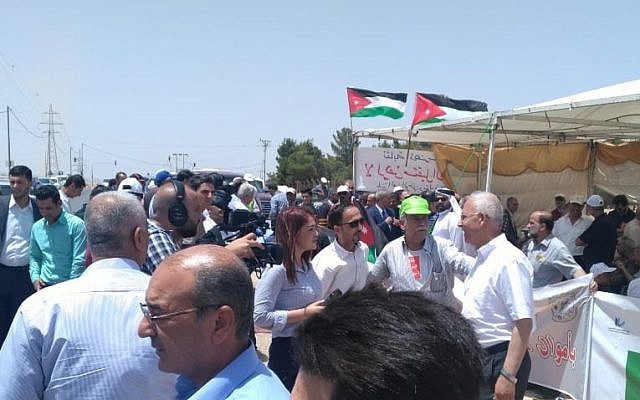 Des Jordaniens participent à une manifestation dans la ville d'Irbid contre l'accord d'importation de gaz naturel en provenance d'Israël le 25 juillet 2018. (Times of Israel staff)