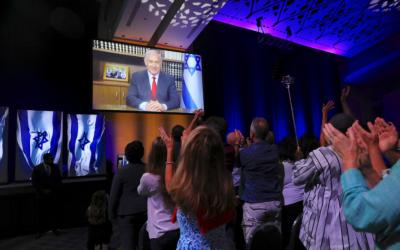 Le Premier ministre Netanyahu lors d'un sommet de l'organisation Christians United for Israel à Washington, le 23 juillet 2018 (Crédit : Twitter)