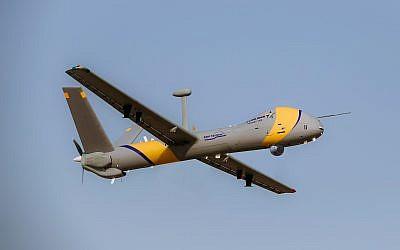 Le Hermes 900 StarLiner, d'Elbit Systems Ltd. Hermes 900 StarLiner, un nouveau drone capable d'opérer dans l'espace aérien civil. (Crédit : Elbit Systems Ltd.)