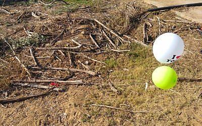 Des ballons transportant une lampe-torche susceptible de contenir des explosifs qui ont été envoyés dans le sud d'Israël depuis la bande de Gaza et découverts dans un champ de coton, le 2 juillet 2018 (Crédit : Conseil régional d'Eshkol)