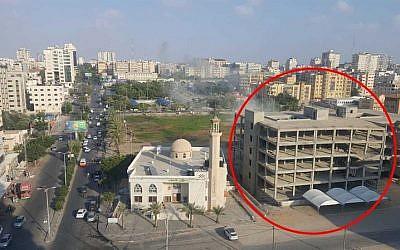UJne structure d'entraînement du Hamas à Gaza City détruite le 14 juillet 2018 par les forces aériennes (Crédit : porte-parole de l'armée israélienne)