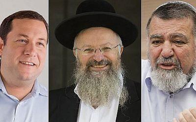 De gauche à droite, le président du conseil régional de Samarie Yossi Dagan, le grand rabbin de Safed Shmuel Eliyahu et l'ancien président du conseil régional de Samarie Gershon Mesika. (Crédit : Yossi Zeliger, Yonatan Sindel et Miriam Alster/Flash90)