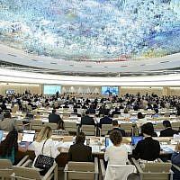 Le Conseil des droits de l'homme lors d'un dialogue interactif avec la Commission d'enquête indépendante sur la guerre Israël-Hamas de 2014 dans la bande de Gaza, le 29 juin 2015 à Genève, Suisse. (Crédit : ONU)
