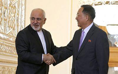 Le ministre iranien des affaires étrangères Mohammad Javad Zarif, à gauche, et son homologue nord-coréen Ri Yong Ho durant une réunion à Téhéran, le 7 août 2018 (Crédit : / AFP PHOTO / ATTA KENARE)