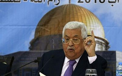 Le président de l'Autorité palestinienne Mahmoud Abbas prend la parole lors d'une réunion avec le Conseil central palestinien à Ramallah, en Cisjordanie, le 15 août 2018. (AFP PHOTO / ABBAS MOMANI)