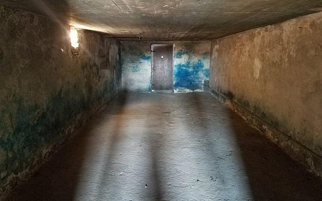 Une chambre à gaz du camp de Majdanek, en Pologne, en octobre 2017. (Crédit : Matt Lebovic/The Times of Israel)