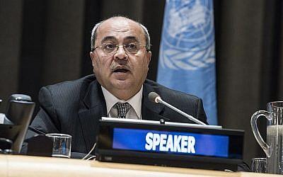 Ahmed Tibi s'adressant à une réunion spéciale du Comité pour l'exercice des droits inaliénables du peuple palestinien le 29 novembre 2017. (ONU/Kim Haughton)