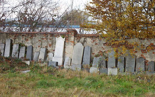 Le cimetière juif de wywiec, en Pologne, en 2007. (Adam Midor / Wikimedia Commons via JTA)