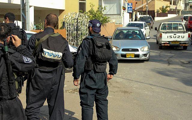 Photo d'illustration -- La police israélienne dans la ville druze d' Abu Snan, en Israël, le 15 novembre 2014 (Crédit :Flash90)