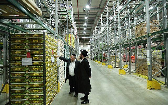 Des inspecteurs de casheroute dans un entrepôt de fruits et légumes, le 16 mars 2016; (Crédit : Yaakov Naumi/FLASH90)