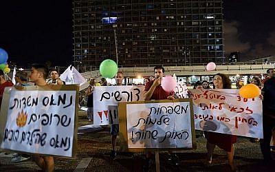 Des résidents du sud manifestent pour l'amélioration de la sécurité, à Tel Aviv, le18 août 2018. (Crédit : Gili Yaari/Flash90)