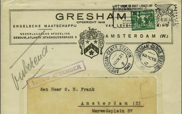 Une lettre non ouverte adressé au père d'Anne Frank provenant d'une compagnie d'assurance à Amsterdam. (Corinphila Auction House via JTA)