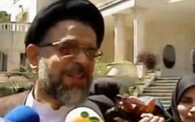 Le ministre iranien des renseignements, Mahmoud Alavi (crédit photo : capture d'écran YouTube)