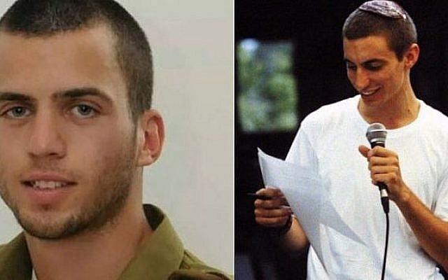 Soldats de l'armée israélienne Oron Shaul (à gauche) et Hadar Goldin (à droite) (Crédit : Flash90)