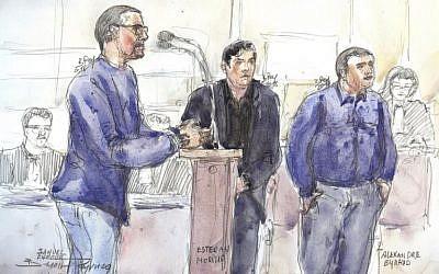 Esquisse du procès de Samuel Dufour (à gauche) d'Esteban Morillo (centre) et d'Alexandre Eyraud (droite) pour le meurtre de Clément Méric, à la Cour d'Assises de Paris, le 4 septembre 2018. (Crédit : AFP/ Benoit PEYRUCQ)