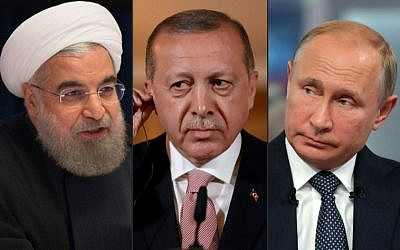(Montage) De gauche à droite : le président iranien Hassan Rouhani à New York, le 22 septembre 22 ; le président turc Recep Tayyip Erdogan à Londres le 15 mai 2018 et le président russe Vladimir Poutine le 7 juin 2018 à Moscou. Ils sont réunis à Téhéran le 7 septembre pour un sommet tripartite sur le sort de la province d'Idleb, en Syrie. (Crédits : AFP PHOTO / AFP PHOTO et SPUTNIK)