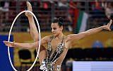L'Israélienne Linoy Ashram pendant la finale all-around des championnats du monde de gymnastique rythmique à  l'Arena Armeec, à Sofia, le 14 septembre 2018. (Crédit :  AFP PHOTO / Dimitar DILKOFF)