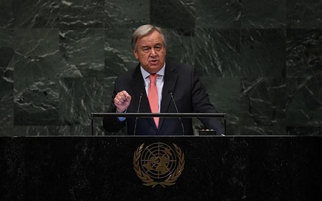 Antonio Guterres, secrétaire-général des Nations unies, s'exprime durant le débat général de la 73e session de l'Assemblée générale des Nations unies à New York, le 25 septembre 2018 (Crédit : AFP PHOTO / TIMOTHY A. CLARY)