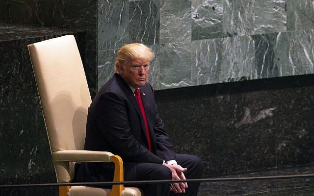 Le président Donald Trump avant son discours au débat général de la 73ème session de l'Assemblée générale des Nations unies, le 25 septembre 2018 à New York (Crédit :  / AFP PHOTO / Bryan R. Smith)