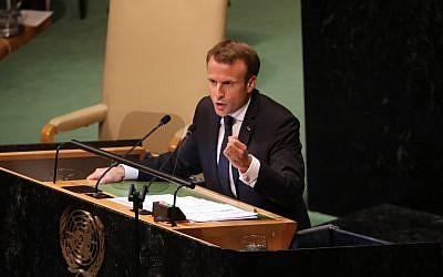 Emmanuel Macron durant son discours lors de l'assemblée générale de l'ONU à New York City le 25 september 2018 (Crédit: AFP PHOTO / Ludovic MARIN)