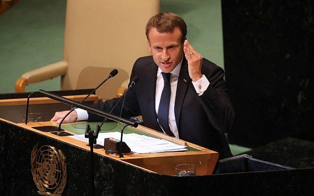Le président français Emmanuel Macron  durant son discours à l'Assemblée générale annuelle de l'ONU au siège des Nations unies, de New York, le 25 septembre 2018 (Crédit : AFP PHOTO / Ludovic MARIN
