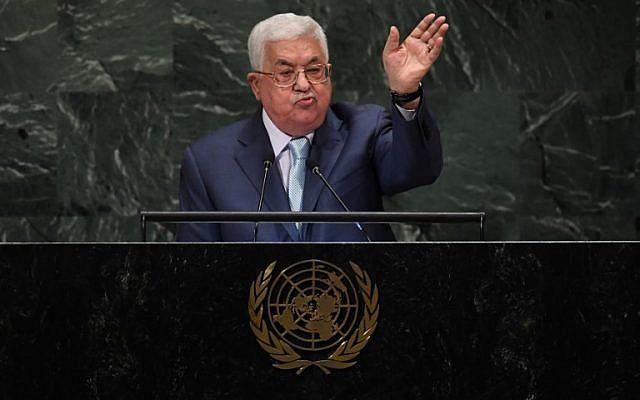 Mahmoud Abbas à l'assemblée générale de l'ONU, à New York, le 27 septembre 2018 (Crédit : Thimothy A. Clary/AFP)