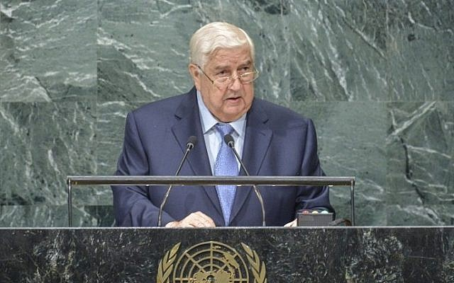 Walid Al-Moualem, ministre des affaires étrangères de Syrie, lors de la 71ème session de l'Assemblée générale des Nations unies au siège de l'ONU à New York, le 24 septembre 2016 (Crédit : AFP/Kena Betancur)