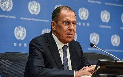 Le ministre russe des Affaires étrangères Sergueï Lavrov tient une conférence de presse lors de l'Assemblée générale des Nations unies à New York, le 28 septembre 2018. (Stephanie Keith / Getty Images / AFP)