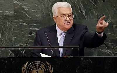 Le président de l'Autorité palestinienne Mahmoud Abbas prend la parole lors de l'Assemblée générale des Nations unies, à New York, le 20 septembre 2017. (AP / Seth Wenig)