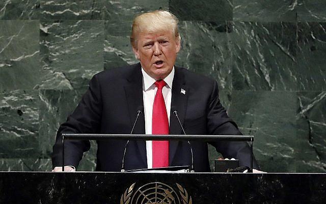 Le président Donald Trump prend la parole à la 73ème session de l'Assemblée générale des Nations Unies, au siège des Etats-Unis, le mardi 25 septembre 2018. (Crédit : AP / Richard Drew)