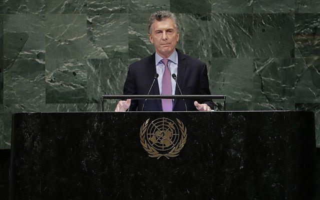 Le président argentin Mauricio Macri s'adresse à la 73e session de l'Assemblée générale des Nations Unies le mardi 25 septembre 2018, au siège des Nations Unies. (AP Photo/Frank Franklin II)