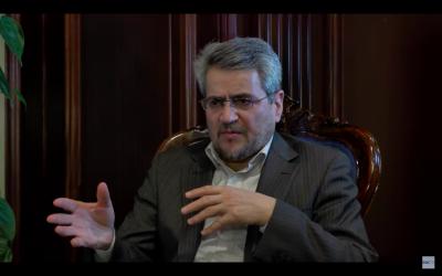 Gholamali Khoshroo, ambassadeur d'Iran aux Nations unies. (Crédit : capture d'écran YouTube / Dialogue of Civilizations Research Institute)