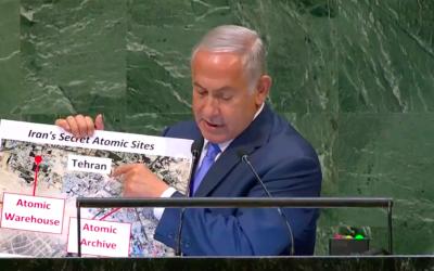 Benjamin Netanyahu à l'Assemblée générale de l'ONU, le 27 septembre 2018 (Crédit : capture d'écran YouTube)