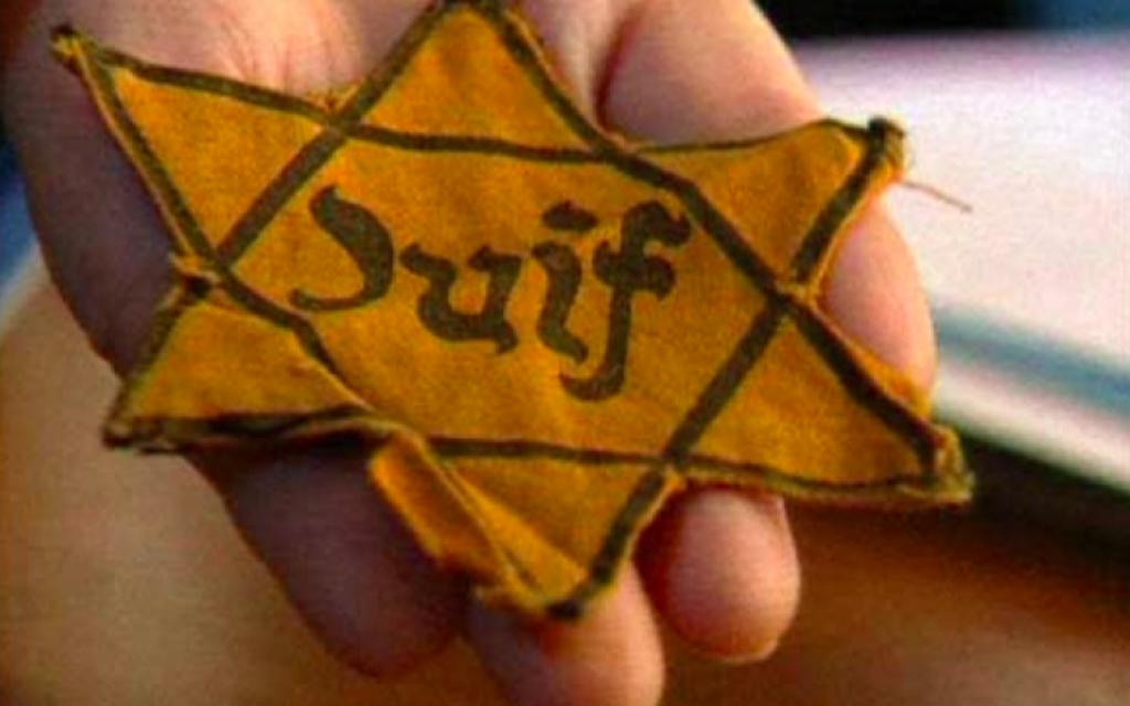 Une étoile jaune, dispositif de discrimination et de marquage imposé par l'Allemagne nazie aux Juifs résidant dans les zones conquises au cours de la Seconde Guerre mondiale. Illustration. (Crédit : capture d'écran france info tv)