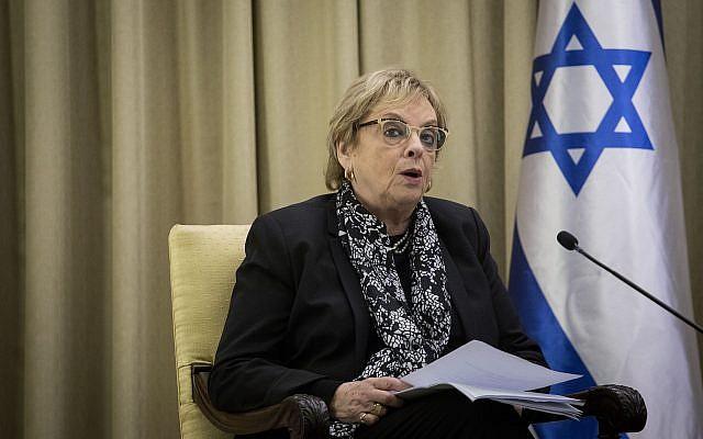 L'ancienne présidente de la Cour suprême  Dorit Beinisch à la résidence du président à Jérusalem, le 21 novembre 2017 (Crédit : Hadas Parush/Flash90)