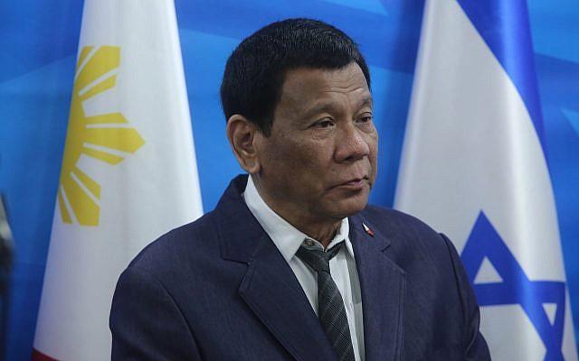 Le président philippin Rodrigo Duterte à Jérusalem, le 3 septembre 2018. (Crédit : Marc Israel Sellem)