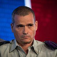 Le général de division Yoel Strick, Commandant du Commandement du nord, lors d'une conférence organisée par Hadashot au centre de conférence international de Jérusalem, le 3 septembre 2018 (Crédit : Yonatan Sindel/Flash90)